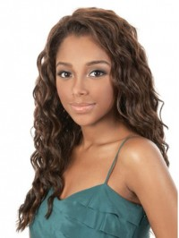 Brown Long Wavy Capless Synthetic Wig With Side Bangs 20 Inches