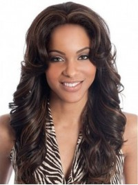 Central Parting Long Wavy Full Lace Human Hair Wig 24 Inches