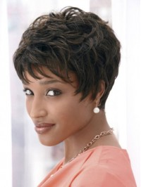 Boy Cut Short Curly Capless Synthetic Wig With Bangs 4 Inches