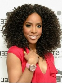 Afro-Hair Central Parting Curly Long Lace Front Synthetic Wigs 16 Inches