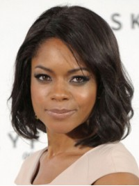 Naomie Harris Medium Wavy Capless Synthetic Wigs With Side Bangs 12 Inches