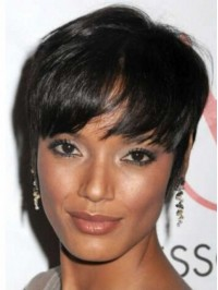 Boy Cut Short Straight Capless Synthetic Wigs With Bangs 6 Inches