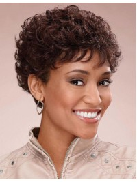 Afro-Hair Short Brown Curly Human Hair Wigs
