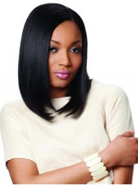 Bob Style Black Straight Lace Front Synthetic Wig With Side Bangs 12 Inches