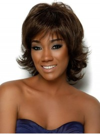 Layered Short Wavy Synthetic Capless Wig With Bangs 10 Inches