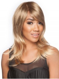 Layered Straight Long Blonde Lace Front Synthetic Wig With Side Bangs 16 Inches