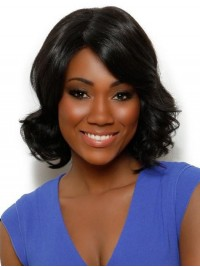 Layered Short Wavy Monofilament Synthetic Wig With Side Bangs 12 Inches