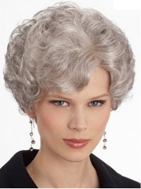 Short Gray Lace Front Synthetic Wigs 8 Inches