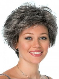 Short Wavy Capless Synthetic Hair Wigs 6 Inches