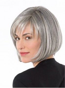 Lace Front Gray Short Straight Synthetic Wigs 10 I...