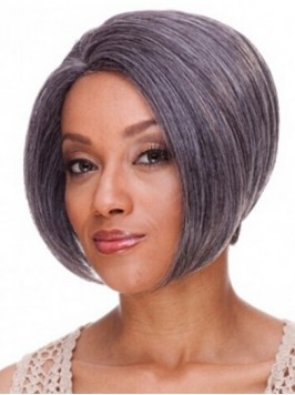 Lace Front Short Striaght Gray Synthetic Wigs 8 In...