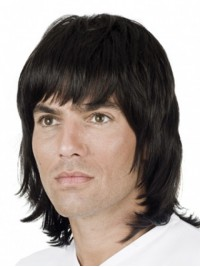 Medium Straight  Human  Men Wigs