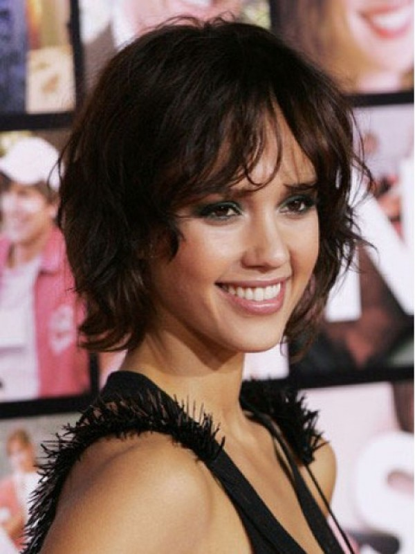 Jessica Alba Short Wavy Lace Front Human Hair Wigs With Bangs