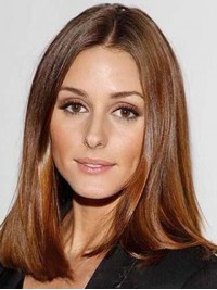 Medium Brown Straight Central Parting Lace Front Synthetic Wigs