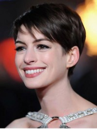 Anne Hathaway Short Lace Front Straight Boy Cut Lace Front Human Hair Wigs
