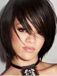 Rihanna Bob Style Short Straight Capless Human Hair Wigs With Side Bangs