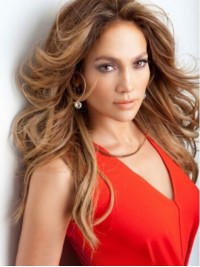 Jennifer Lopez Long Wavy Lace Front Human Hair Wigs Without Bangs
