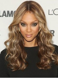 Tyra Banks Central Parting Long Wavy Lace Front Human Hair Wigs