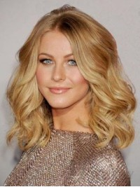 Blonde Central Parting Medium Wavy Lace Front Human Hair Wigs