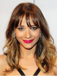 Ombre Long Wavy Capless Human Hair Wigs With Bangs