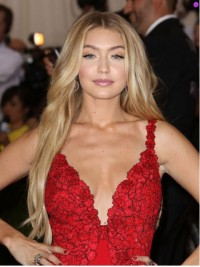 Gigi Hadid Blonde Central Parting Long Wavy Capless Human Hair Wigs