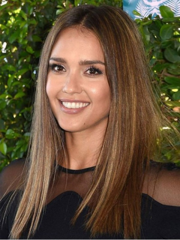 Jessica Alba Central Parting Long Straight Lace Front Human Hair Wigs