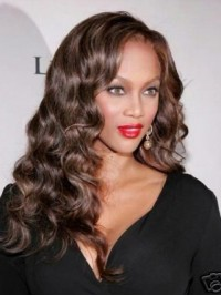 Brown Long Curly Synthetic Lace Front Wigs With Side Bangs
