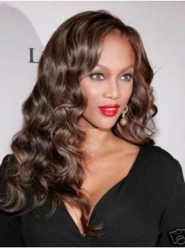 Brown Long Curly Synthetic Lace Front Wigs With Si...
