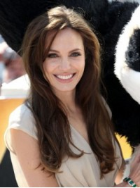 Angelina Jolie Long Straight Full Lace Human Hair Wigs With Side Bangs