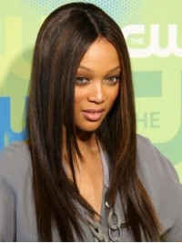 Layered Central Parting Long Straight Lace Front Human Hair Wigs