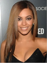 Beyonce Long Straight Full Lace Human Hair Wigs With Side Bangs 18 Inches