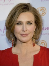Brenda Strong Medium Wavy Full Lace Human Hair Wigs With Side Bangs