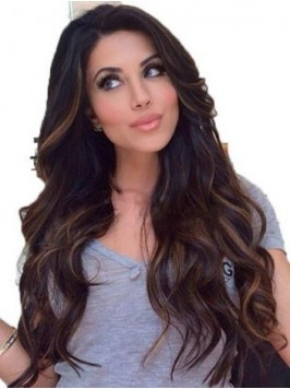 Long Wavy Lace Front Human Hair Wigs With Side Ban...