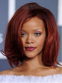 Rihanna Medium Wavy Lace Front Synthetic Wigs With Side Bangs