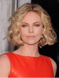 Blonde Short Wavy Central Parting Lace Front Synthetic Wigs