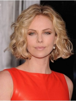 Blonde Short Wavy Central Parting Lace Front Synth...