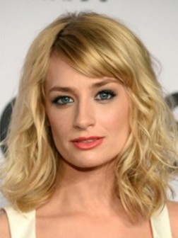 Blonde Medium Lace Front Wavy Synthetic Wigs With Side Bangs