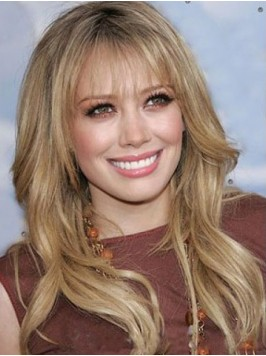 Long Wavy Blonde Lace Front Human Hair Wigs With B...