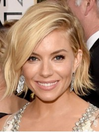 Sienna Miller Short Wavy Full Lace Synthetic Wigs With Side Bangs