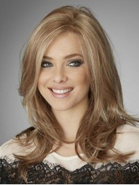 Blonde Long Straight Lace Front Wavy Human Hair Wigs With Side Bangs 18 Inches