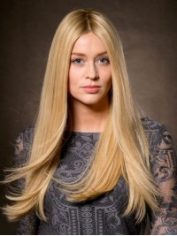 Blonde Central Parting Straight Long Synthetic Lace Front Wigs