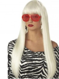 Lady Gaga White Long Straight Synthetic Capless Wigs With Bangs