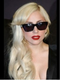 Lady Gaga Blonde Long Wavy Capless Synthetic Wigs With Side Bangs 18 Inches