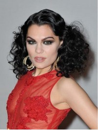 Jessie J Long Curly Synthetic Lace Front Wigs With Side Bangs
