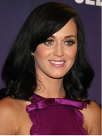 Katy Perry Long Wavy Monofilament Human Hair Wigs With Side Bangs