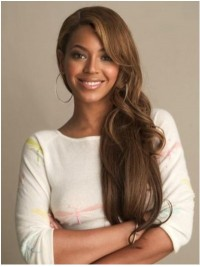 Beyonce Long Wavy Full Lace Human Hair Wigs With Side Bangs 24 Inches