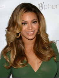 Beyonce Long Wavy Lace Front Human Hair Wigs With Side Bangs 18 Inches