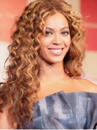 Beyonce Central Parting Long Curly Capless Human Hair Wigs