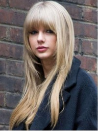 Blonde Layered Long Straight Capless Human Hair Wigs With Bangs 24 Inches