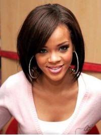 Rihanna Bob Style Short Straight Lace Front Human Hair Wigs With Side Bangs